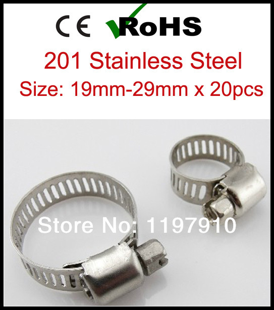 Гаджет  19mm-29mm x 20pcs American Type Stainless Steel Adjustable Hose Clamps 201 Tube pipe Clamps Clips None Аппаратные средства