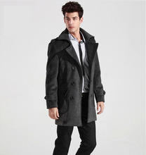 Winter new Korean men Slim lapel double-breasted men's windbreaker jacket and long sections shipping FY0904(China (Mainland))