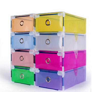 1 Piece Drawer-out Plastic Storage Shoe Box Transparent Shoebox 8 Colors Metal-edged(China (Mainland))