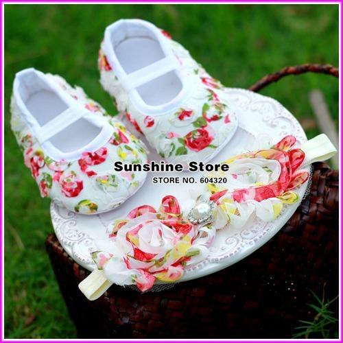 infantil sandalias girls shower set headband shoes baby soft;walker Rosette Shoes set, Shower sandalia infantil #2B1909 3set/lot