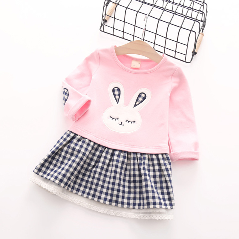 Girls Dress 2016 Autumn Casual Style Baby Girl Clothes Long Sleeve Cartoon Bunny Print Plaid Dress for Kids Clothes(China (Mainland))