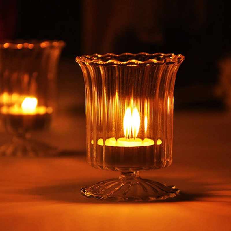 2 Pcs Simple Striped Transparent Glass Candle Holder Home Decoration,Tea Light Candle Holder Bar Accessories Romantic Dinner(China (Mainland))