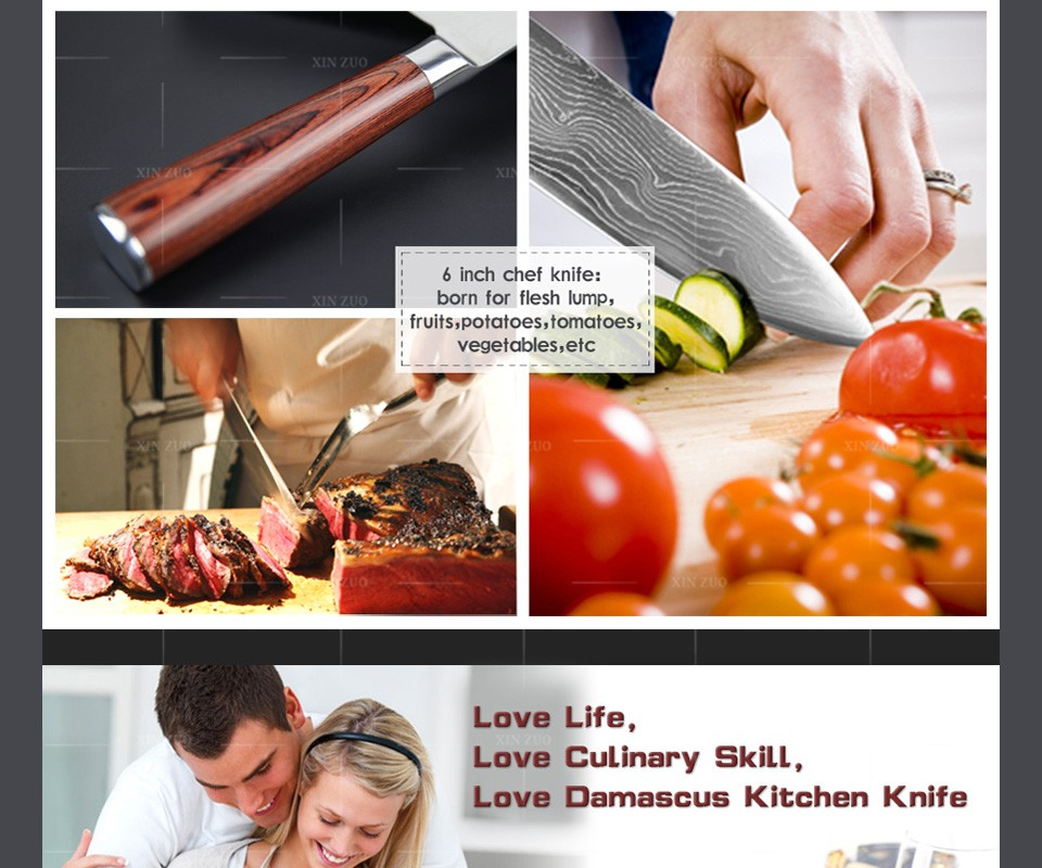 "Buy NEW 6"" inch chef knife 73 layers High quality Japanese VG10 Damascus steel kitchen knife with Colour wood handle free shipping cheap"