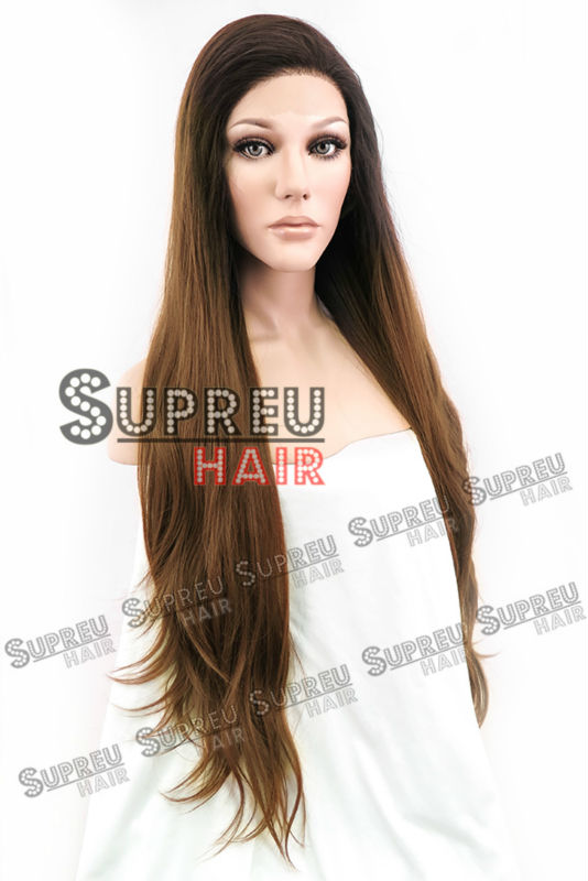 18-28 Long Straight 2 Tone Brown Lace Front Wig Heat Resistant LW640F<br><br>Aliexpress