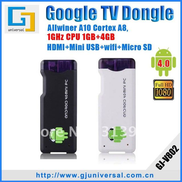 Freeshipping Android 4.0 HDMI Android Stick HDMI Dongle, A10 ARM Cortex+1GHz+1GB+4GB, HD 1080P+WIFI+3D+Skype+MSN+Facebook MK802