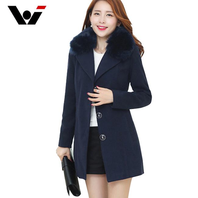 W.J 2015 High Quality Women Wool Coat Winter Fashion Fur ...