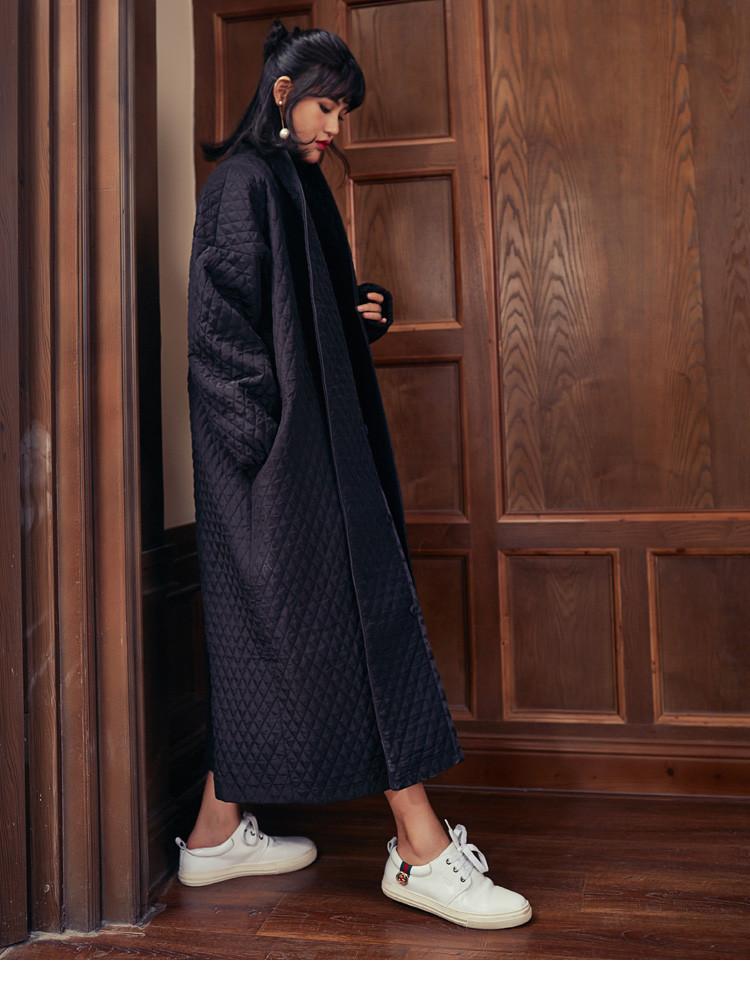 Скидки на Плащ Для Женщин 2016 Горячие Продажа Мода элегантные негабаритных черный длинный макси толстый Хлопок пальто женщины Гороха Пальто