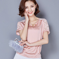 Chiffon Shirt Summer Style New Fashion Women Blouse Elegant Hollow Lace Bottoming Shirt Casual Plus Size