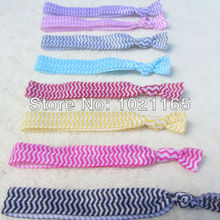 Free shipping wholesale 100pcs mixed 9colors Chevron Print FOE Hair Tie Elastic hair accessories for hair ponytail holder