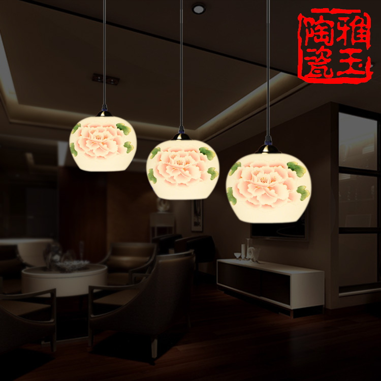 LED E27 AC85-265V 3W-40W Iron Ceiling Plate A Rich Peony China Porcelain 3 Heads Pendant Lights Hanging Indoor Lighting Fixtures(China (Mainland))