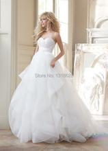 الشحن مجانا حار بيع 2014 فستان الزفاف كشكش اورجانزا/ ثوب الزفاف(China (Mainland))