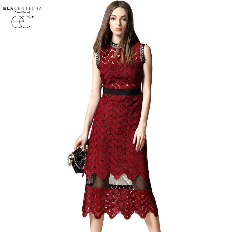 ElaCentelha Brand Dress Summer Women High Quality Gauze Patchwork Hollow Out Dress Casual Sleeveless Womens Slim Long DressesОдежда и ак�е��уары<br><br><br>Aliexpress