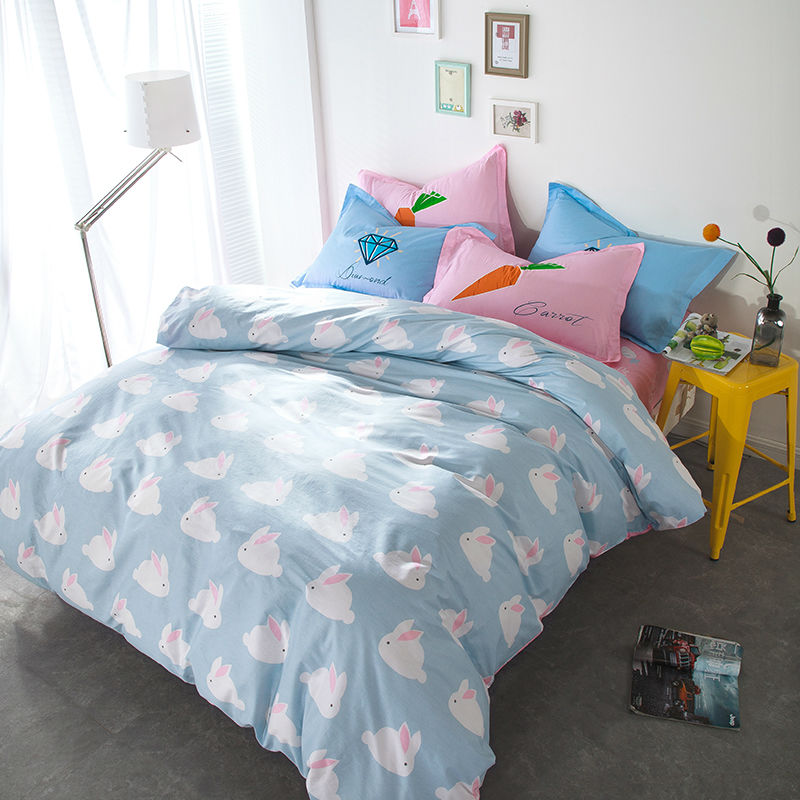 Cartoon lovely bunnies print linens 4pcs bedding sets high end cotton twin/single/double/queen size duvet cover set sheets sets(China (Mainland))