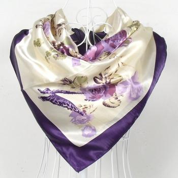 Purple Rose Women Silk Scarf Printed 90*90cm Purple Square Scarf Shawl Ladies' kerchief Plus Size Scarves Fashion Accessories