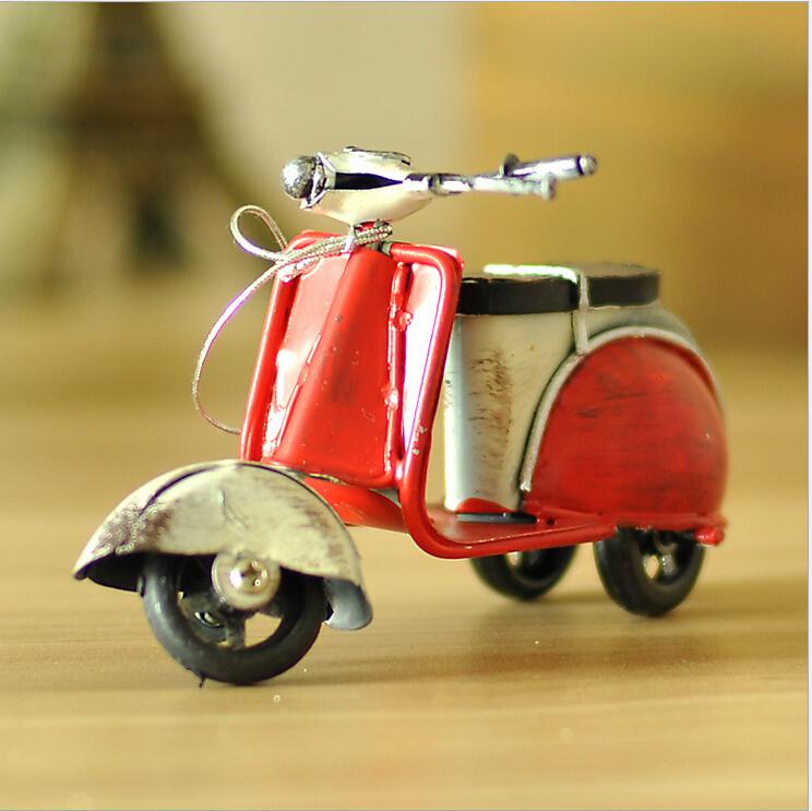 Shabby Chic Zakka Mini Motorcycle Vintage Home Decor Iron Metal Car Handmade Motorcycle Tin Model Cars 11.5*5.5*7cm(China (Mainland))