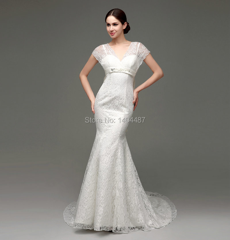 In stock v neck lace backless sexy white ivory mermaid for In stock wedding dresses