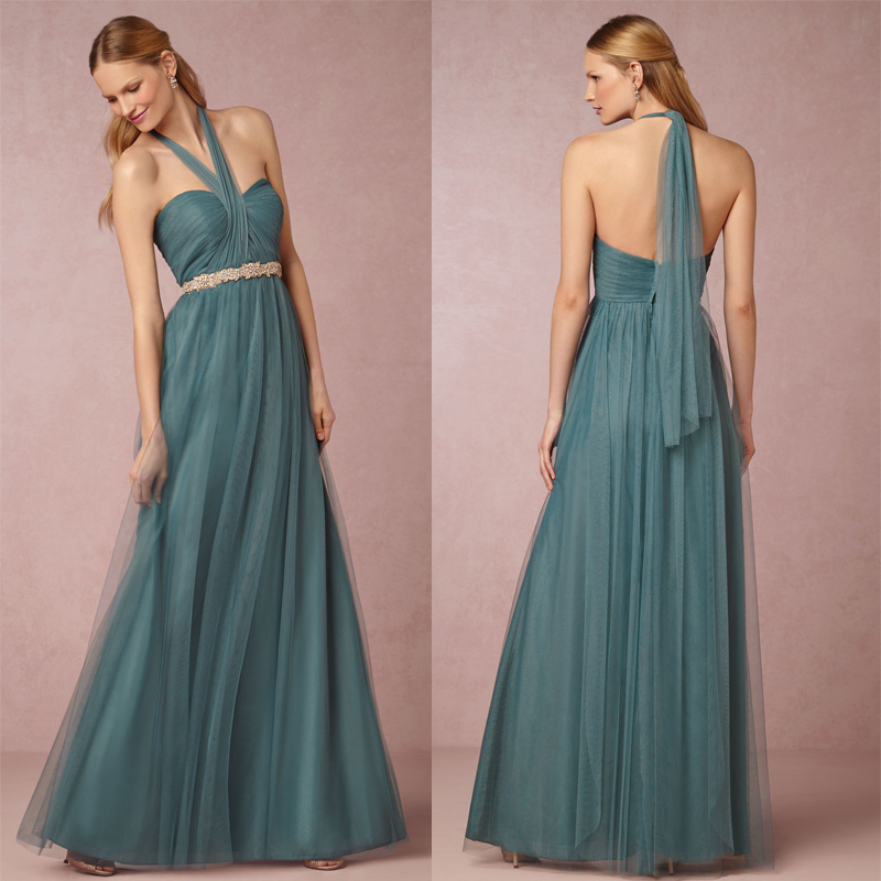 New fashion sexy open back halter pleat green wedding for Sexy dresses for wedding guests