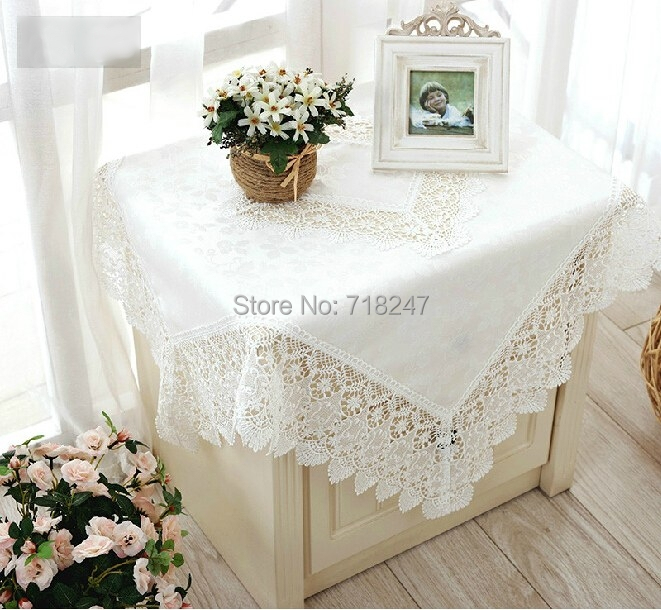 Hot Sale High Quality 85*85cm Elegant Polyester Jacquard Lace Tablecloth Topper Wedding Party Home Table Cloth Cover White(China (Mainland))