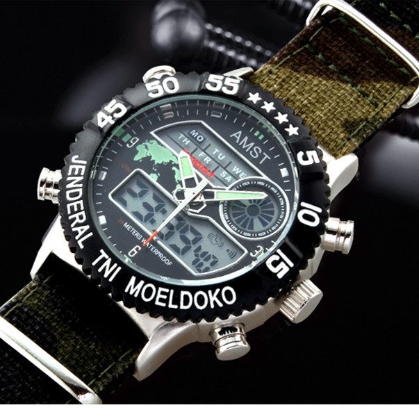 2016 AMST Brand Luxury Quartz Sport Clock Digital LED Wristwatch Army Military Watch Dive 50m Watches for Men Relogio Masculino(China (Mainland))