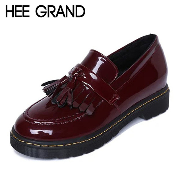 Новый Лакированной Кожи Oxfords Обувь 2016 Весной Старинных Кисточкой Платформа Акцентом ...