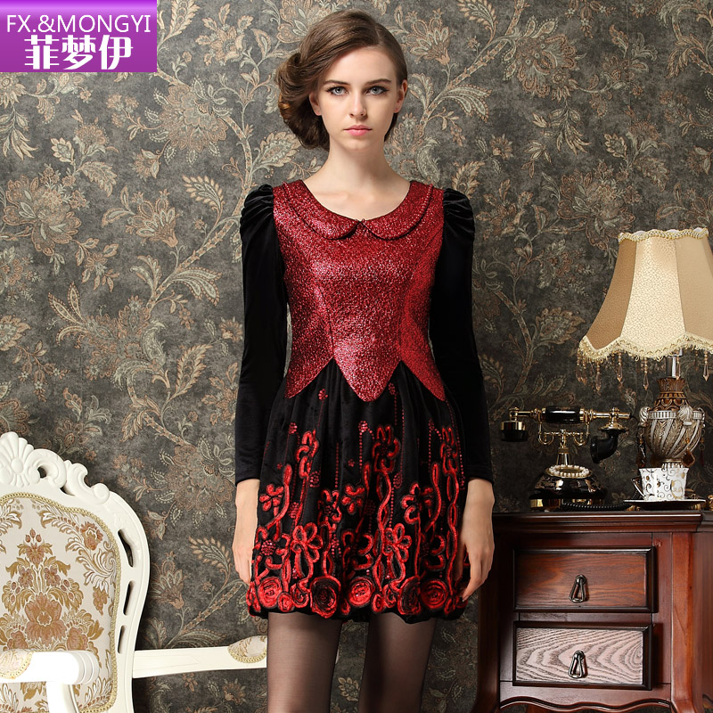 2015 New Arrival Full Party Dresses Dresses New Iraqi Women Dream Dress Philippines High-end Doll Collar Slim Long Sleeve Palace(China (Mainland))