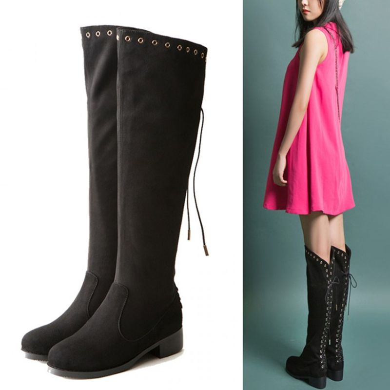 Wool Elegant Sexy Pure Color Euro Style Funky Knot Real Leather Knee High Womens Winter Boots New Matte Zip Individuality<br>