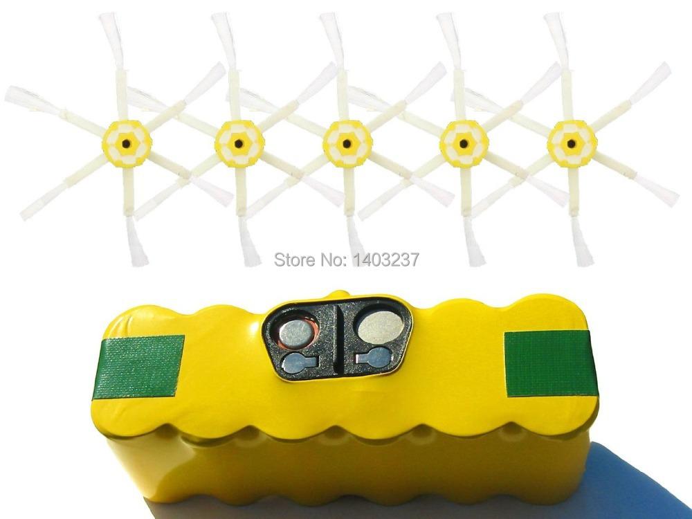880 Battery 6-Arm Side Brush For iRobot Roomba - Kit Includes 1 High Capacity Battery 5 6-Arm Side Brush 3500mAh 14.4V NI-MH(China (Mainland))