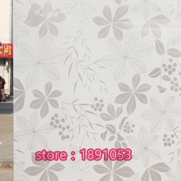 PVC 45x200cm leaf pattern living room bedroom bathroom opaque glass door and window film to the glass(China (Mainland))