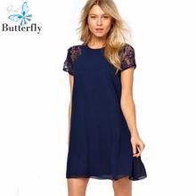 Summer Dress 2015 vestidos Party Dress lace patchwork solid chiffon Women Casual Dress short sleeve plus size blue white BG-2696(China (Mainland))