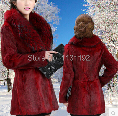 2015 Women's Fashion Raccoon dog Fur Coat Fox Collar Outwear Lady Garment Plus Size S-6XL - CICIU store