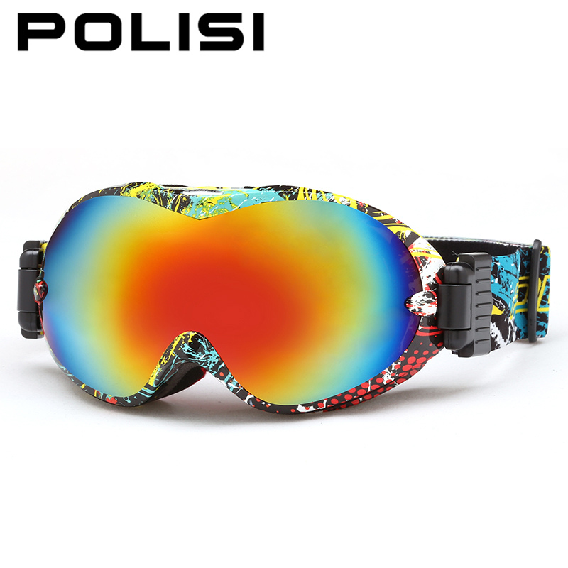 POLISI Professional Men Women Ski Snow Glasses Anti-Fog Mountaineering Eyewear UV Protection Double Layer Lens Snowboard Goggles(China (Mainland))