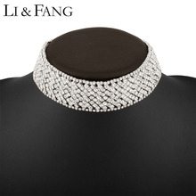 Buy Li & Fang Brand 2017 Rhinestone Choker Necklace Alloy Sexy Circle Fashion Jewelry Women Maxi Crystal Necklaces Women Wedding for $8.23 in AliExpress store