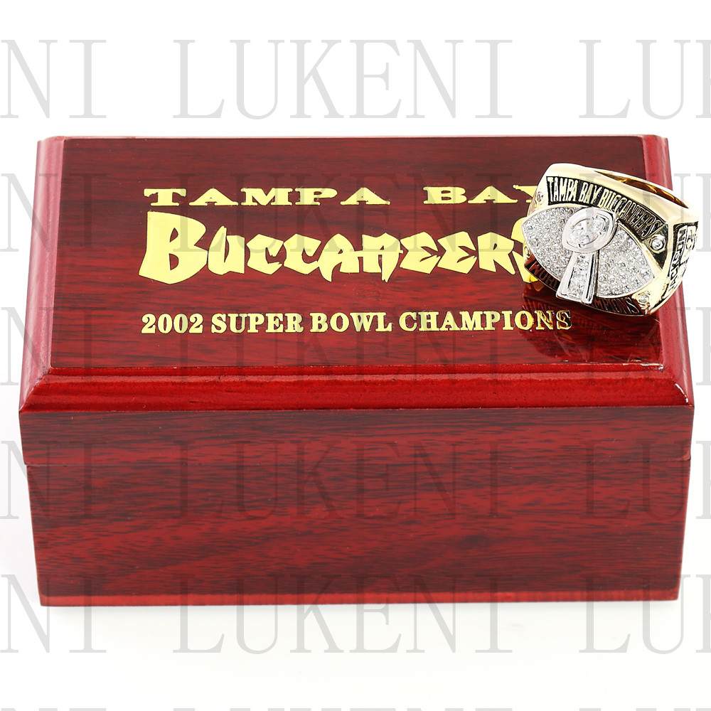 Replica 2002 Super Bowl XXXVII Tampa Bay Buccaneers Championship Ring Football Rings With High Quality Wooden Box Gift LUKENI(China (Mainland))