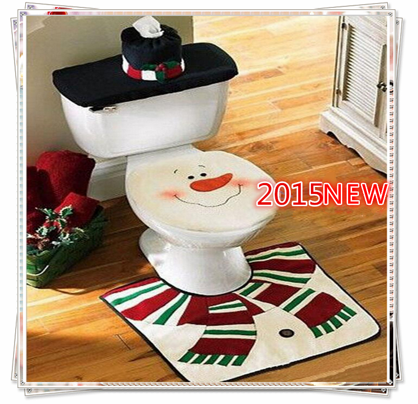 Christmas decoration Snowman Toilet Seat Cover Bathroom indoor ornaments supplies decoration items enfeites de natal papai noel(China (Mainland))