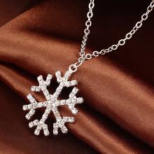 2015 New Year Christmas Gift Fashion Luxury Shiny rhinestone Snowflake Necklace Pendants Chain long necklace jewelry women M13