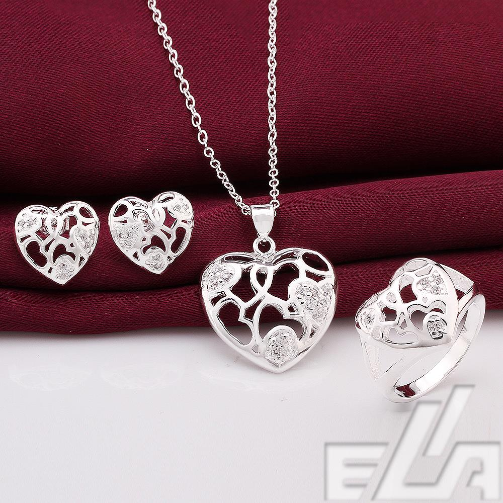lowest price silver plated Necklace / Ring size 8 Earrings romantic style wedding jewelry sets women - Ella Jewelry (drop shipping store)