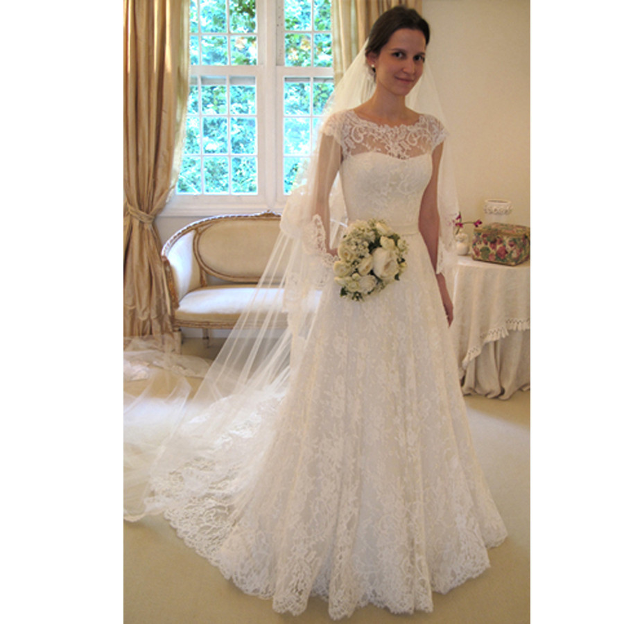 Cheap 2016 New White Ivory Lace Bridal Gown Wedding Dress