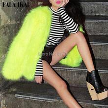 Women Winter Fur Coat Fluorescent Green Fur Jacket Faux Fur Outerwear Short Furry Coat  SWQ0053(China (Mainland))