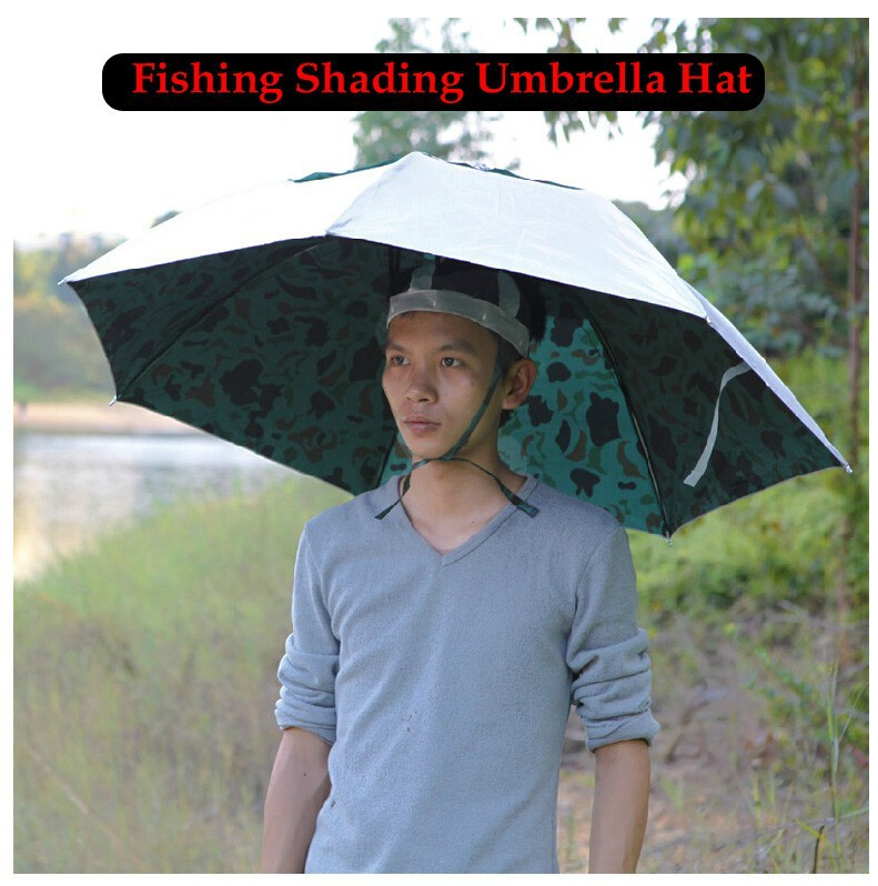1 Piece Camouflage Three Folding Large Fishing Cap Shading Sun-proof Fish Umbrella Hat Outdoor Sports Wear Open Diameter 100cm