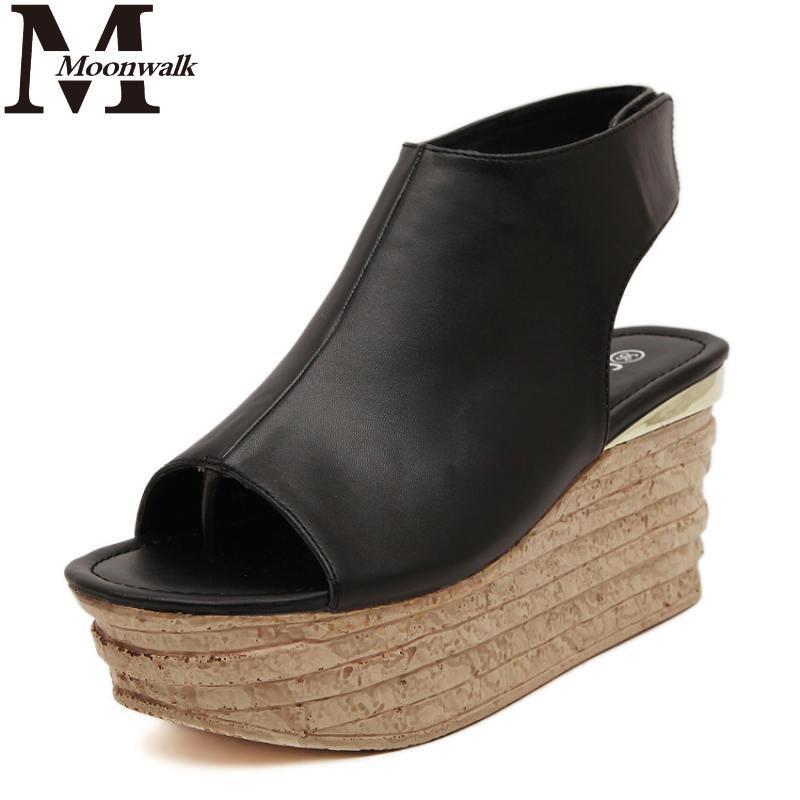 MOON WALK 2015 Summer fashion sandals comfortably peep toe Fashion Wedges platform sandals thick high heels shoes blackJ4018(China (Mainland))