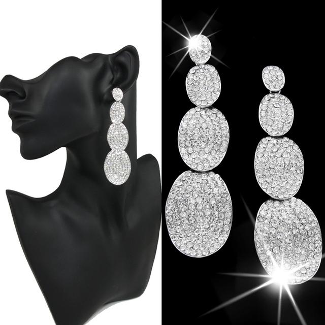 Бижутерии boucles d'oreille женщины свадебные серьги ювелирные изделия кристалл серебряный стразы женщины длинные серьги для свадьба свадебная ersh22