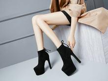 Blok Topuk Yüksek Topuk yarım çizmeler Kadınlar Yüksek Topuk Platform Streç Çizmeler Bayanlar Süper Topuk Çorap Parti Elbise Patik Siyah(China)