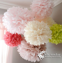 Free Shipping 1pcs 8/10/12/14 inch Tissue Paper Pom Poms artificial Flower Balls,Party, Baby Shower, Nursery, Wedding Decoration