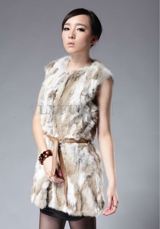 2015 New Spring Womens Real Pieces Rabbit Fur Vest with PU Leather Belt Casual Rabbit Gilet Waistcoat Sleeveless Outwear LX00310Одежда и ак�е��уары<br><br><br>Aliexpress