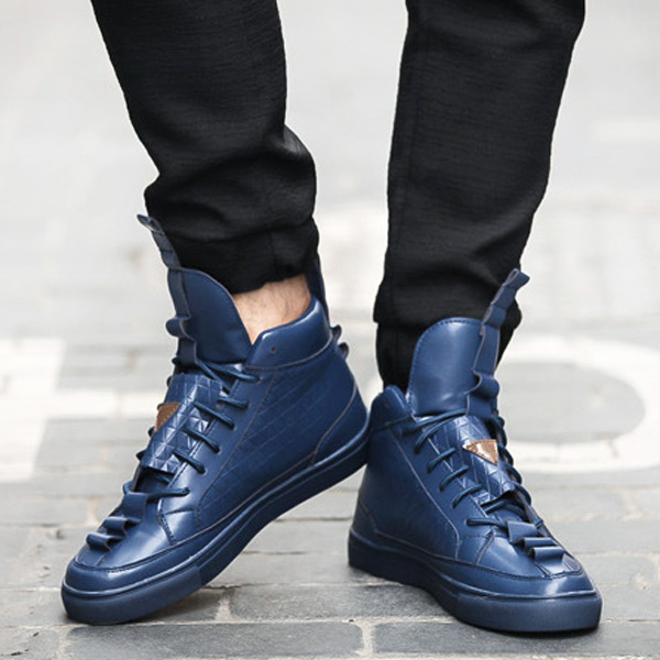 2016 New High Top Fashion Casual Shoes For Men Breathable PU Leather Lace-Up Flats Spring Autumn Rubber Sole Shoe<br><br>Aliexpress