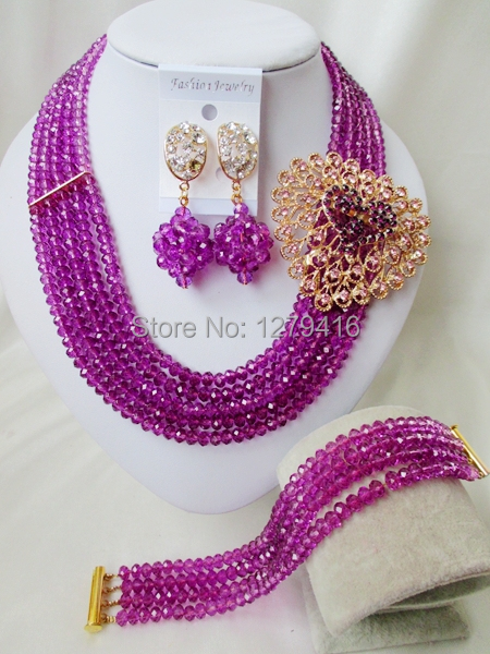 Luxurious wedding bead bead Africa Nigeria crystal necklace bracelet sets bridal jewelry set A919<br><br>Aliexpress