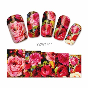YZWLE 1 Sheet Nail Art Water Transfer Sticker Charming Red Rose Design Nail Wraps Full Cover Sticker Tips Nails Supplies Decal