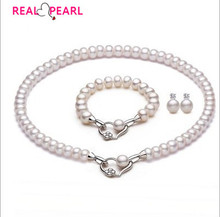 REAL PEARL 925 Sterling Silver Pearl Jewelry Set Fashion Necklace Bracelet Earrings Set with 10-11mm Super Big Natural Pearls(China (Mainland))