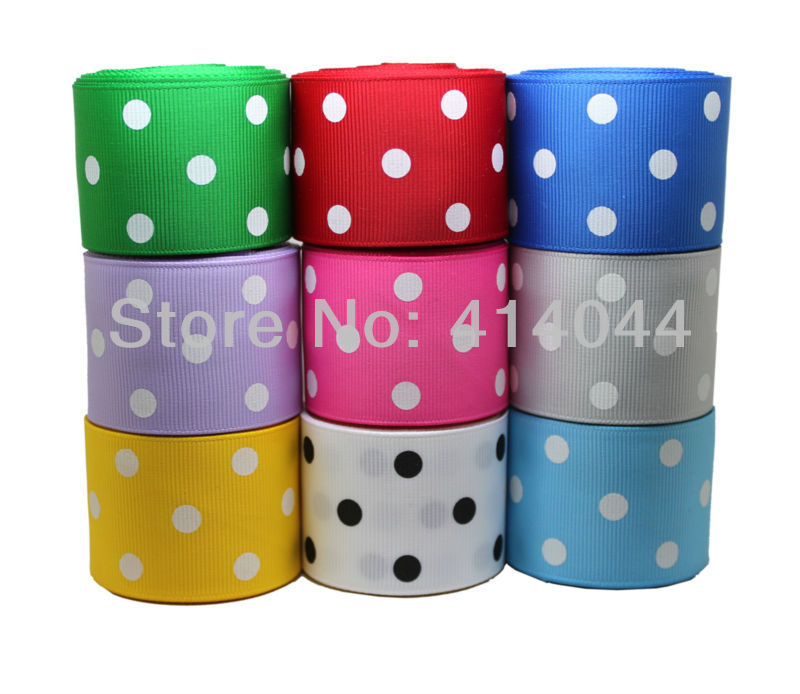 1.5 inch 38MM Polka Dots Printed Grosgrain Ribbon Lots 9 Colors Mixed Baby Hair Bows Making - PPCrafts Kid's Accessories store