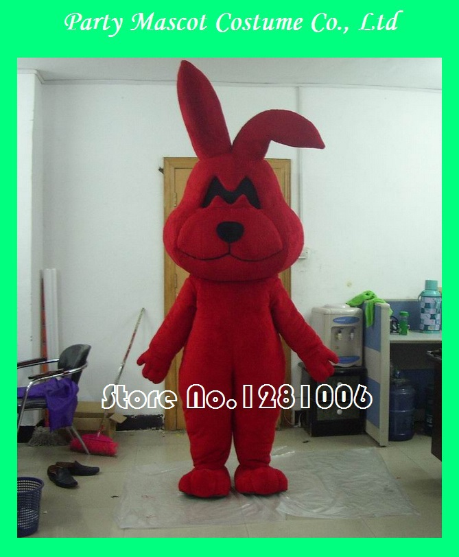 big ear red fancy dress party bunny mascot costumes(China (Mainland))